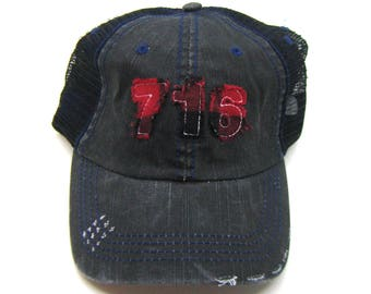 Clearance - Sale - Gift - Gracie Designs Hat - 716 New York Area Code Buffalo Check Black Distressed Trucker