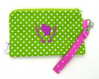 Clearance - Sale - Gift - Gracie Designs Wristlet - pink wisconsin in antlers on lime green polka dot