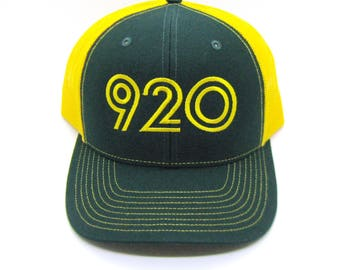 Retro 920 Area Code Hat - Snapback Trucker Hat - Area Code Green Bay Northeast Wisconsin