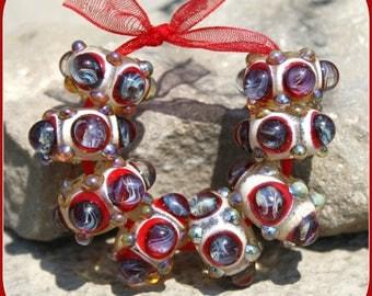 Stormin' Red lampwork bead set