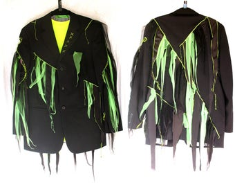 Zombie Man - CUSTOM Black Jacket gray lime red or yellow ZomBee tatters suit jacket Custom ooak upcycled clothing Adult Halloween Costume