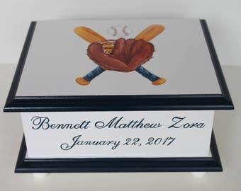 Baby Keepsake Box Baby Memory Box for boy Navy Blue Baseball hand painted personalized baby gift