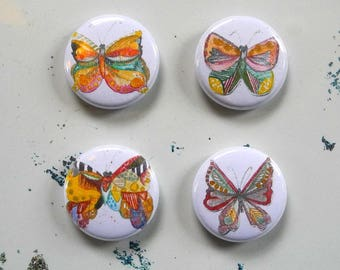 butterfly button with pin back - single button