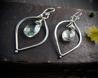 sweet leaf ... green amethyst earrings ...