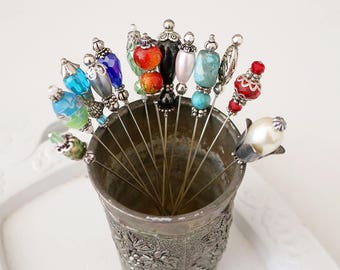 Beaded Hat Pin For Pin Cushions or Scarves