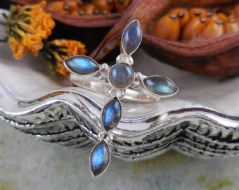 Labradorite sterling silver cross ring - size 6.0