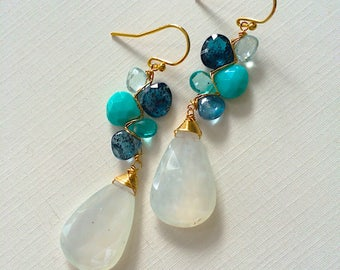 Moonlight Ocean Woven Earrings with Kyanite, Apatite, White Topaz, and White Moonstone