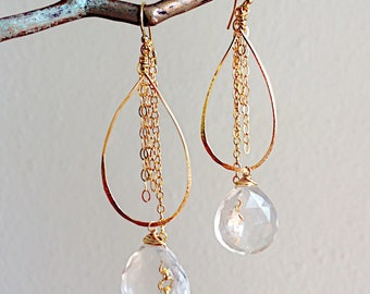 Quartz and Chain Teardrop Hoop Earrings