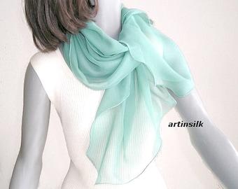 Sage Silk Chiffon Scarf, Petite Mint Coverup, Small Sheer Scarf Wrap, Shoulder Scarf, Light Green, White Chiffon Scarf, Petite S XS.