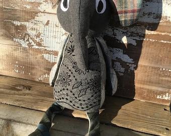 CRAZY SALE- Nora the Elephant -Stuffed Softie-One of a Kind Toy-Eco Friendly Toy