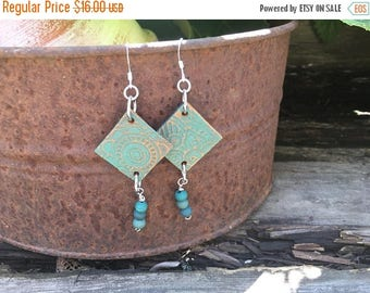CRAZY SALE- Embossed Leather Earrings-Turquoise Floral-Beaded-Boho Earrings
