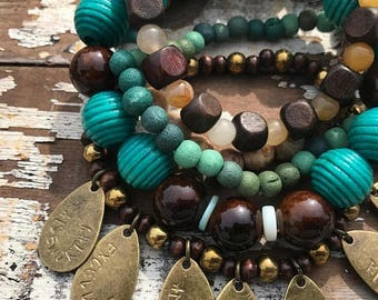 ECLIPSE SALE- Bead Stack Bracelets-Think on These Things-Phil 4-Scripture -Glass and Wood-Cuff Accessories-Boho Style-