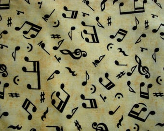 Musical Mice Music Notes Cotton Fabric