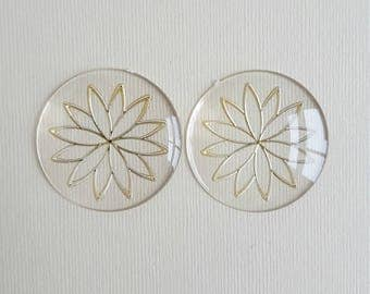Vintage plastic clear cabochons with gold flower