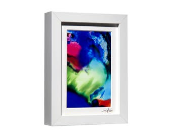 Blue, Pink, Green Contemporary Desk Top Art, Framed Abstract Print On Metal, Hand-Signed Modern Metal Art, Bookshelf Decor by Jon Allen - C