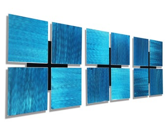 Aqua Blue Abstract Metal Accent, Set of Three, Modern Metal Wall Art, Contemporary Home & Office Decor - 3 of a Kind Aqua by Jon Allen