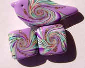 Purple Lavender Clay Spring Bird Focal Artisan Polymer Clay Bead Set with Focal and 2 Square Shaped Art Beads (3 Beads)
