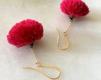 Tassel Dangling  Earrings, Silk Earrings, Fuchsia Tassel Earrings, Bohemian Tassel Earrings, Fun Tassel Earrings, Hot Pink Tassel Earrings