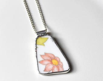 Broken China Jewelry Pendant - Pink Corelle Flower