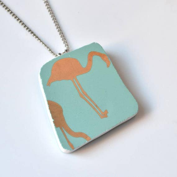 Broken China Jewelry Pendant - Golden Teal Flamingo