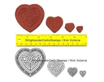 Celtic Hearts Unmounted Rubber Stamp Set of 4 Sizes Wedding Engagement Valentine Anniversary Projects