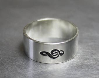 ON SALE TODAY Silver Music Note Treble Clef Ring, Music Jewelry