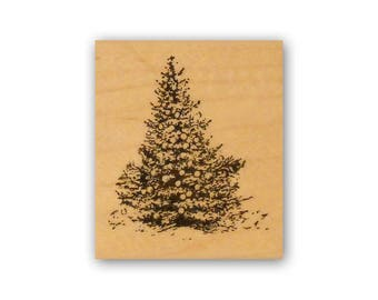 Christmas Tree mounted rubber stamp, pine tree, winter, vintage style Crazy Mountain Stamps #7