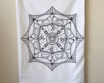 Pittsburgh Mandala Kitchen Towel, Tea Towel, Flour Sack Towel- Single