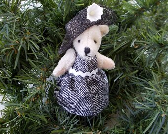 Lady Bear Christmas Tree Ornament Steps Out in Flowered Hat and Diamonds Miniature Bear