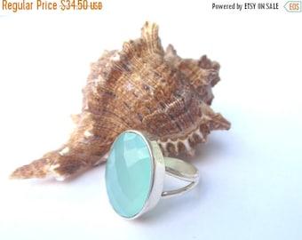 CIJ SALE Aqua Chalcedony Ring.  Size 7.  Sterling Silver Chalcedony Ring.  Aqua Blue Oval Chalcedony Ring.