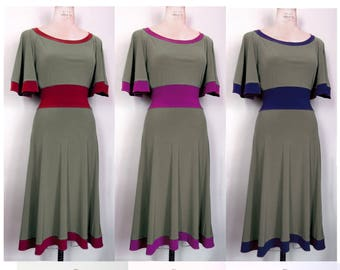 Long Dress, Plus Size, Regular and Petite Dress with Sleeves,Two Tone, Colorblock,Grey, Curvy, A line,whomademyclothes