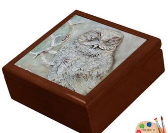 Keepsake ,Trinket, Jewelry , Decorative Box,   - Owl Ceramic Tile Lid - Made to Order