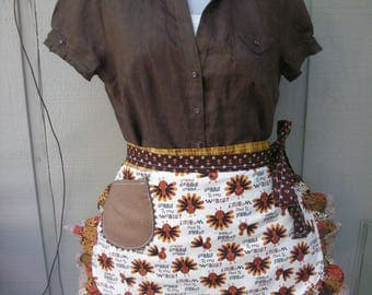Aprons - Womens Thanksgiving Aprons - Gobble Gobble Till You Wobble Apron - Turkey Aprons - Thanksgiving Aprons - Fall Aprons - Brown Aprons
