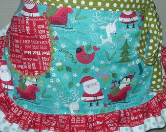 SHIPS OUT TODAY - Womens Aprons - Christmas Aprons - Santa Claus Christmas Aprons - Hostess Gifts - Red Holiday Aprons - Annies Attic Aprons