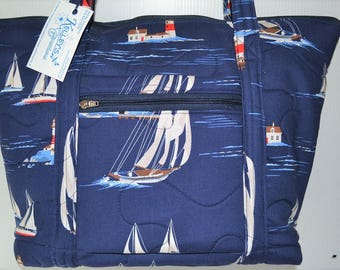 Quilted Fabric Tote Bag Navy Blue with Beautiful Lighthouses and Sailboats