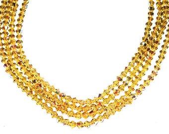 Sunshine Yellow Bicone Crystals- crystal beads- AB crystal beads- faceted beads- glass beads- yellow beads- designer beads- jewelry supplies