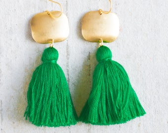 Green Tassel Earrings, Green Fringe Earrings,Green Tassels, Tassel Earrings, Green, Long Tassel Earrings, Holiday Earrings