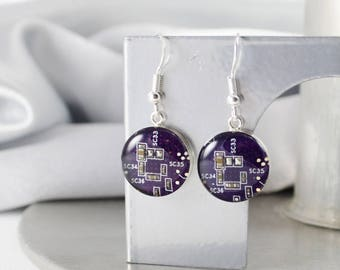Circuit Board Earrings, Violet Sterling Silver Jewelry, Purple Dangle Earrings, Silver Earrings, Software Engineer, Women in Computing, Geek