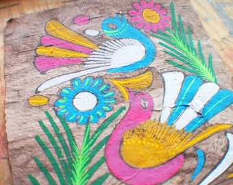 Vintage Amate Bark Painting - Mexican Folk Art - Pink and Blue Birds