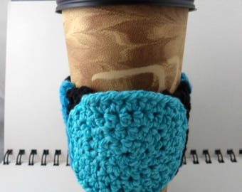 SALE - Black and Aqua Crocheted Coffee Cozy with Aqua Circular Pocket (SWG-A12)