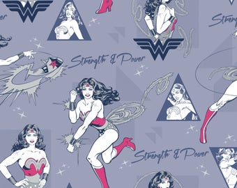 Wonder Woman Strength & Power in Light Navy Licensed DC Camelot Fabric By The Yard