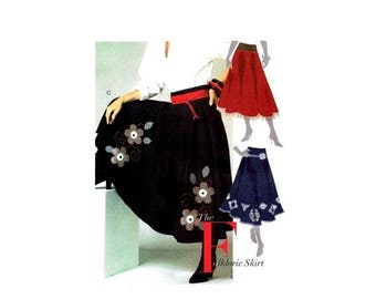 SALE Misses Folkloric Flared Skirt Attached Petticoat McCalls 5238 Sewing Pattern Full Figure Size 14 - 16 - 18 - 20 - 22 UNCUT