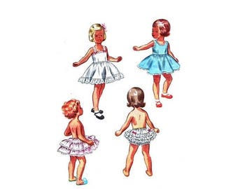 SALE 1950s Simplicity 3296 Pattern Girls Slip Petticoat Panties Full Circular Skirt Ruffles Lace Trimmed Childrens Vintage Sewing Pattern Si