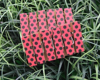Ladybug Polka Dots Chunky Little Clothespin Clips w Twine for Display -  Set of 12 - Girl Baby Birthday