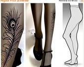 30%off/endsJUL23/ Large/ Extra Large gorgeous PEACOCK FEATHER tattoo tights / stockings / full length / pantyhose / nylons Grey