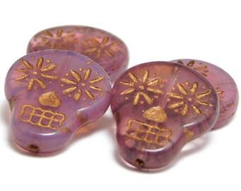 Sugar Skull Beads - Pink Sugar Skull - Czech Glass Beads - Day Of The Dead Beads - Czech Beads  - Skull Beads - Picasso Beads - 4pcs (2222)