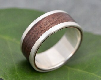 Size 12, 10mm READY TO SHIP Lados Walnut Wood Ring - recycled sterling silver and walnut wood wedding band, wood wedding ring