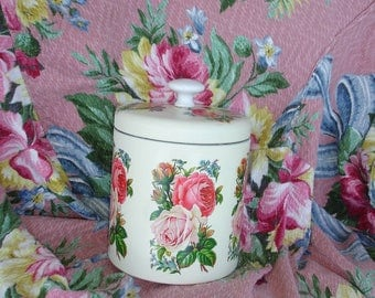 Small tin canister*tin*Ravishing roses*Cottage cutie