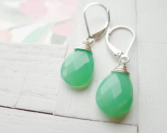 Green Chrysoprase Chalcedony Earrings Faceted Briolette Leverback Sterling Silver