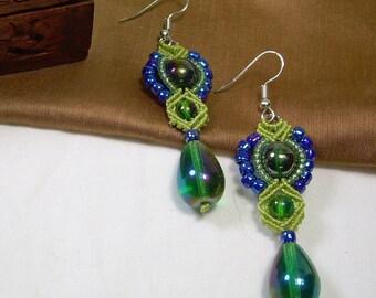 Beaded Micro Macrame EARRINGS - Diamonds - Green and Blue